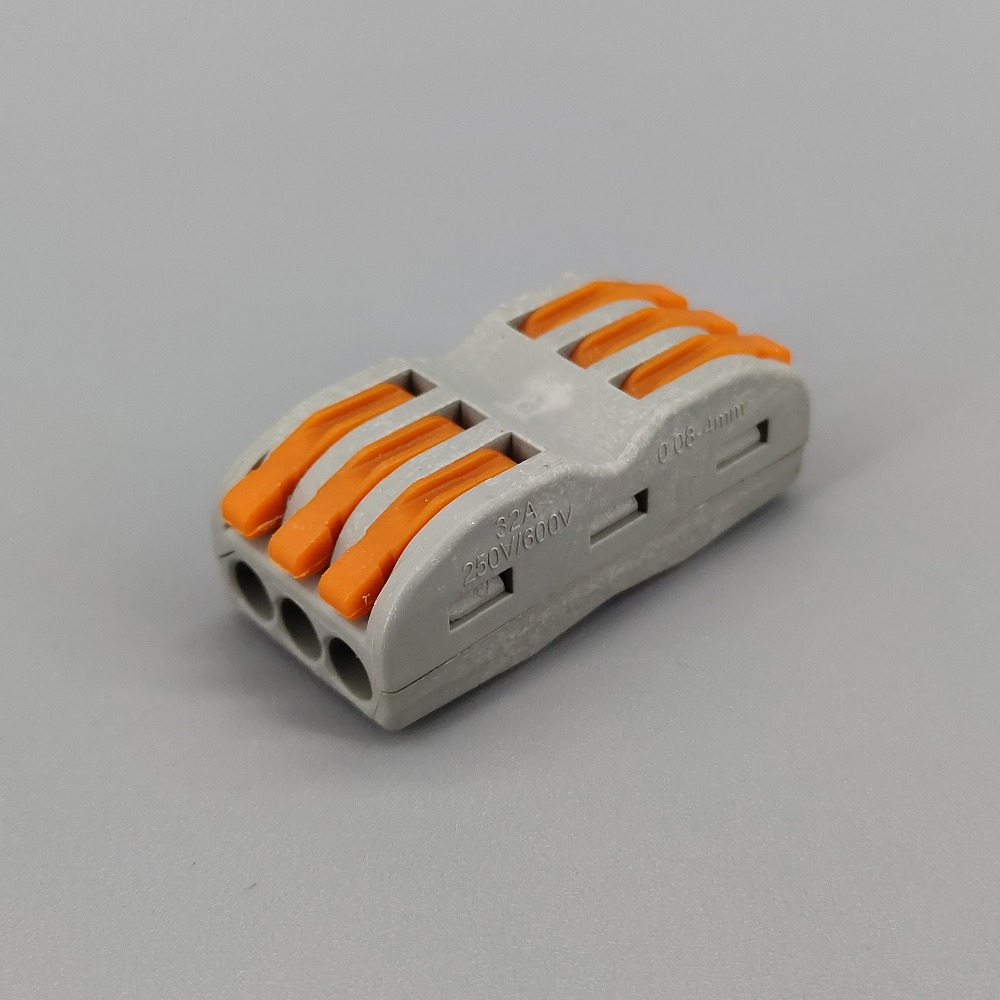 50pcs 3 Pin Universal Compact Wire Wiring Connector Conductor Terminal Block With Lever Splitter 32A