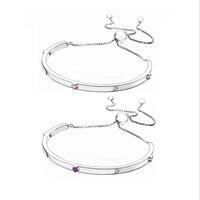 2018 New 100 925 Sterling Silver Pink Red CZ Explosion Of Love Bracelet Adjustable Bracelet Bangle