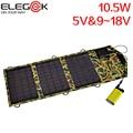 ELEGEEK 10.5 W 5 V & 9 V a 18 V PET Dobrável Carregador de Painel Solar com usb e saída dc para ipad iphone psp camera android telefone