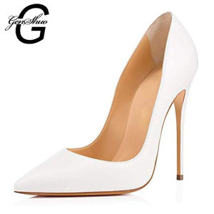 Image 2 - GENSHUO Sexy Nude Heels Pumps For Women 12CM High Heels Shoes Woman Stiletto Pointed Toe Womens Shoes Sexy Party Wedding Shoes