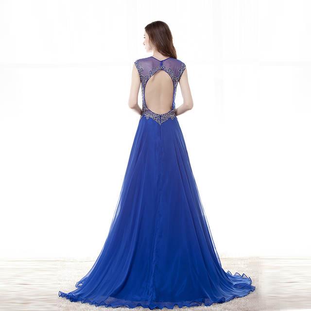 ba92bfcd6 placeholder Royal Blue Evening Dresses Long 2019 Vestido Azul V Neck Open  Back Sheer Illusion Avondjurken Gala