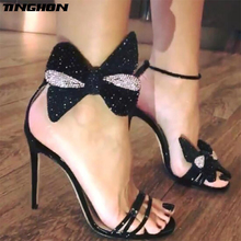 TINGHON Summer Rhinestone Bow Women Fashion Black Leather High Heels Ankle Buckles Ladies Concise Style Sandals Party Shoes