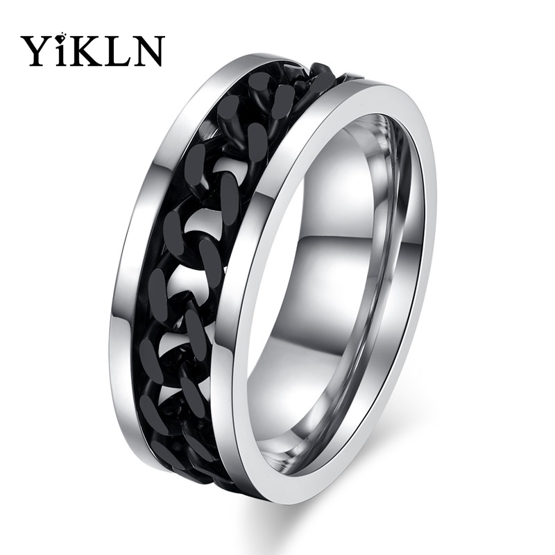 Jewelry & Accessories Hot Sale Yikln Fashion Spinner Black Chain Rings For Men Punk Titanium Steel Black Rotatable Chain Ring Jewelry Anneau Jr016 Fine Workmanship