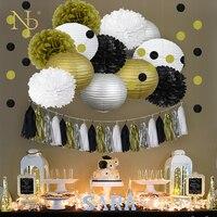 Nicro Mixed Gold Black White Party Tissue Pom Poms Paper Lantern Honeycomb Ball DIY Golden Anniversary