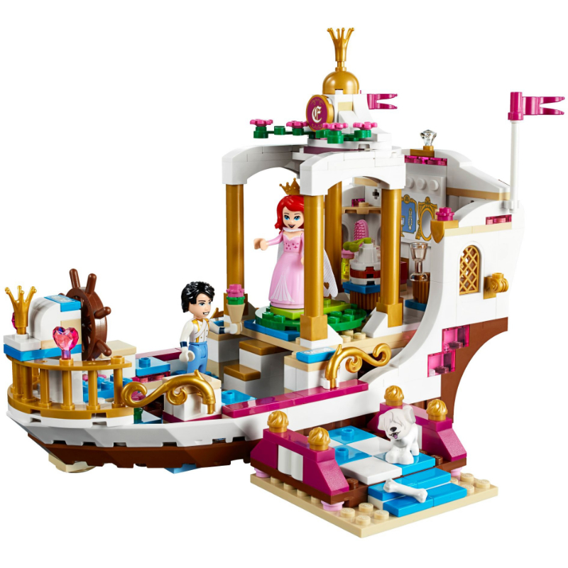 Compatible Legoinglys Friends Princess Ariel's Royal Celebration Boat Building Blocks Bricks Mermaid Ariel Figures Model Toys