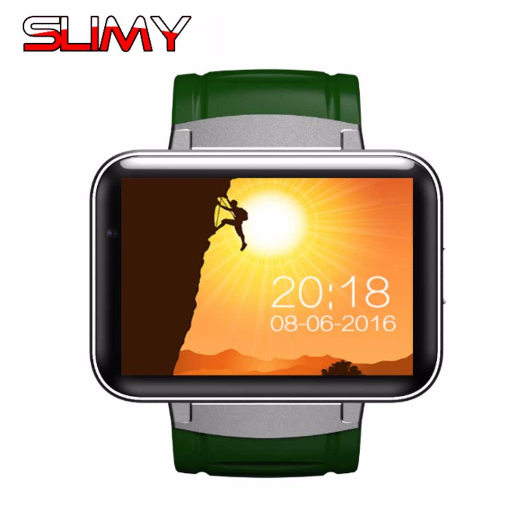 Slimy Bluetooth 3G Wifi Smart Watch DM98 2.2 inch Android 4.4 OS 3G Smartwatch Phone MTK6572 512MB RAM 4GB ROM WCDMA PK KW88 no 1 d5 bluetooth smart watch phone android 4 4 smartwatch waterproof heart rate mtk6572 1 3 inch gps 4g 512m wristwatch for ios