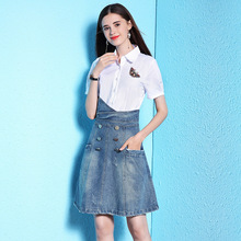 2018 Summer new stylish sequin butterfly white shirt stitching denim dress summer commuter thin 18b1987