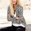 Leopardo de las mujeres Chaquetas 2016 Nuevo Traje De Moda De Señora Señoras Abrigos De Marca Ropa Plegable Más El Tamaño XS-XXL