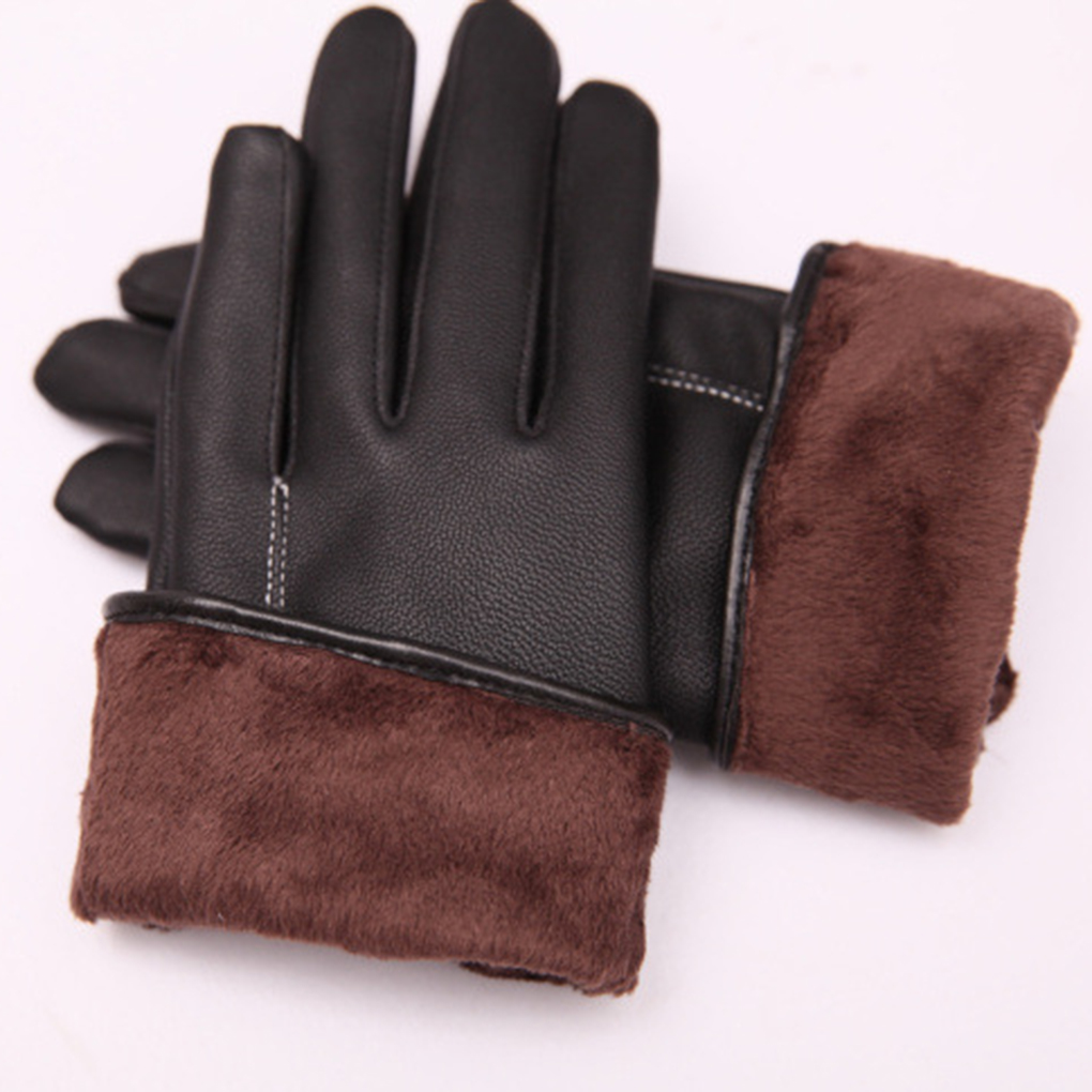 Womens black leather gloves medium - Solid Female Women Black Leather Gloves Mittens Plus Velvet Lining For Autumn Winter China