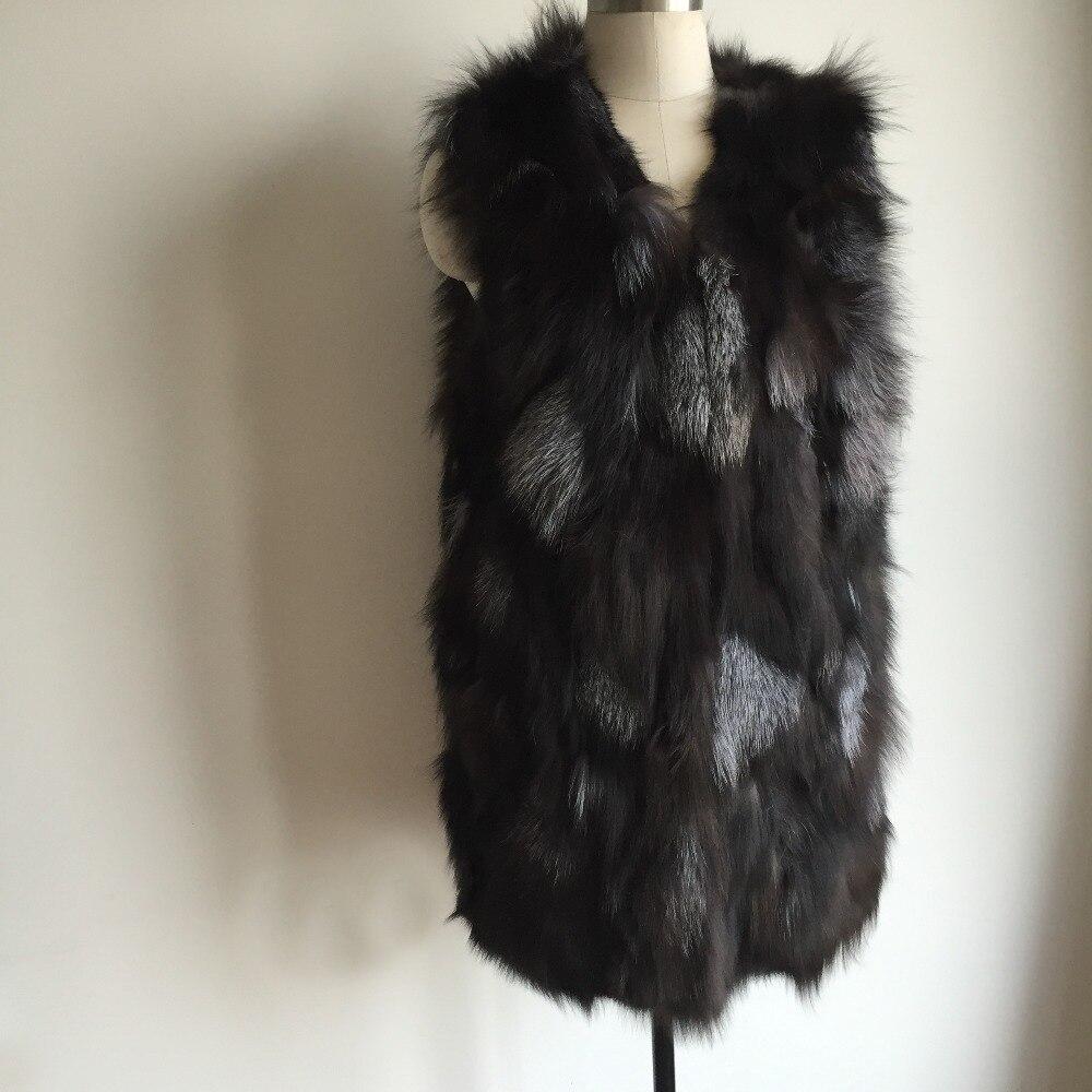 Pur Femmes Réel Long Fourrure Nature De Renard Manteau 100 Mode Gilet Top Tah625 URvngXWq
