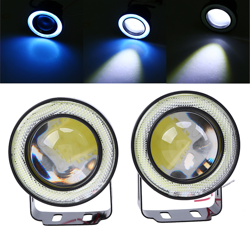 POSSBAY 64mm 76mm 89mm LED DRL Daytime Running Light COB Projector Fog Lens Angel Eyes Car Styling Exterior HeadLight цены