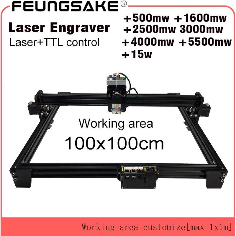 15 w macchina di taglio laser TTL controllo PMW 1*1 m grande area di 5500 mw FAI DA TE incisione laser macchina, 2.5 w laser intaglio macchina del router di cnc