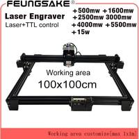 15w laser cutting machine TTL PMW control 1*1m big area 5500mw laser engraving machine 2.5w laser carving machine 7w cnc router