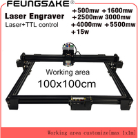 15w laser cutting machine TTL PMW control 1*1m big area 5500mw DIY laser engraving machine,2.5w laser carving machine cnc router