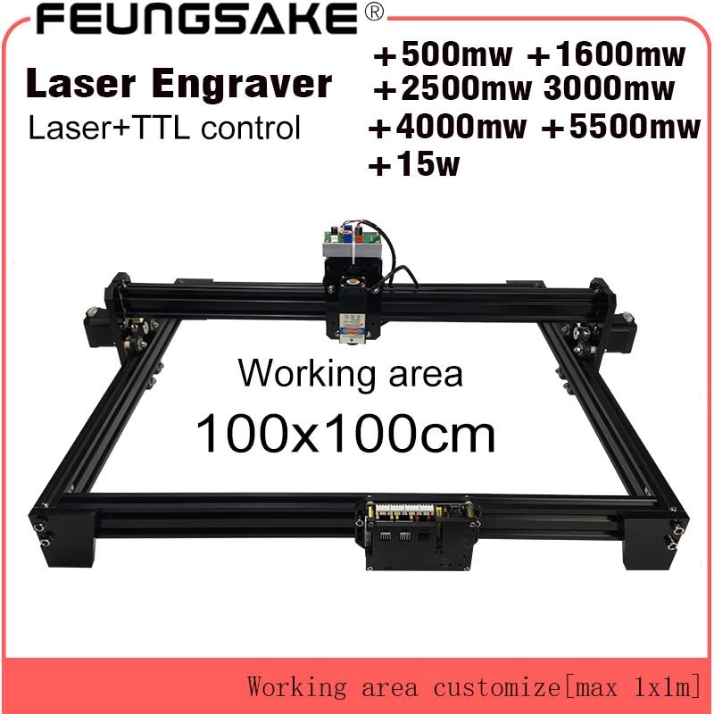 Machine de découpe laser 15w TTL PMW contrôle 1*1m grande surface 5500mw machine de gravure laser 2.5w laser sculpture machine 7w CNC routeur