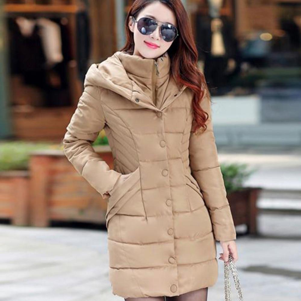 Woman Plus Size 2XL Winter Coat Long Outerwear Thicken   Parkas   zipper button hooded warm lady office work young girl school cheap