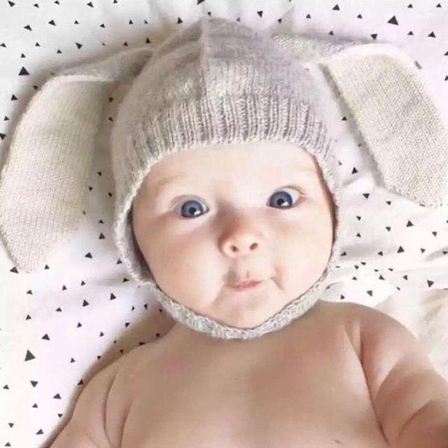 55c94aaf43b Autumn Winter 1Pcs Baby Kids Rabbit Ears Hat Babies Bonnet Hat Knitted  Infant Toddler Cap Girl