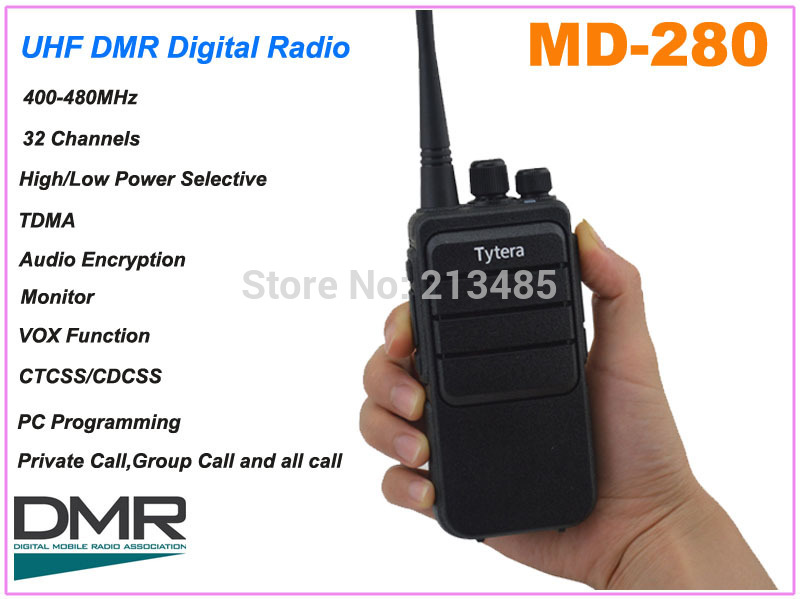 TYT Tytera MD-280 UHF 400-480MHz DMR  Digital Portable Two-way Radio