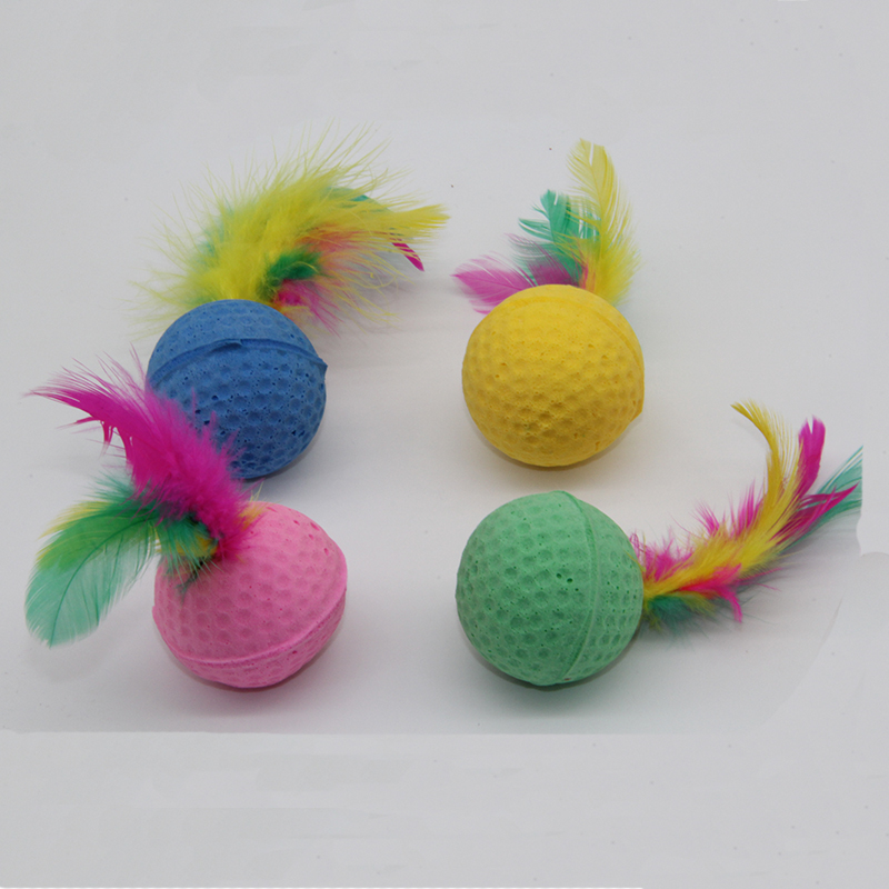 Westrice Cat Toy Hot sale Circular and Feather 4cm So Nice Funny Colorful Soft Latex Feathered Ball Toys Pet Cat And Dog Toys