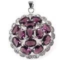 Fashion Jewelry Amethyst, White CZ Created SheCrown   Silver Pendant 36x29mm