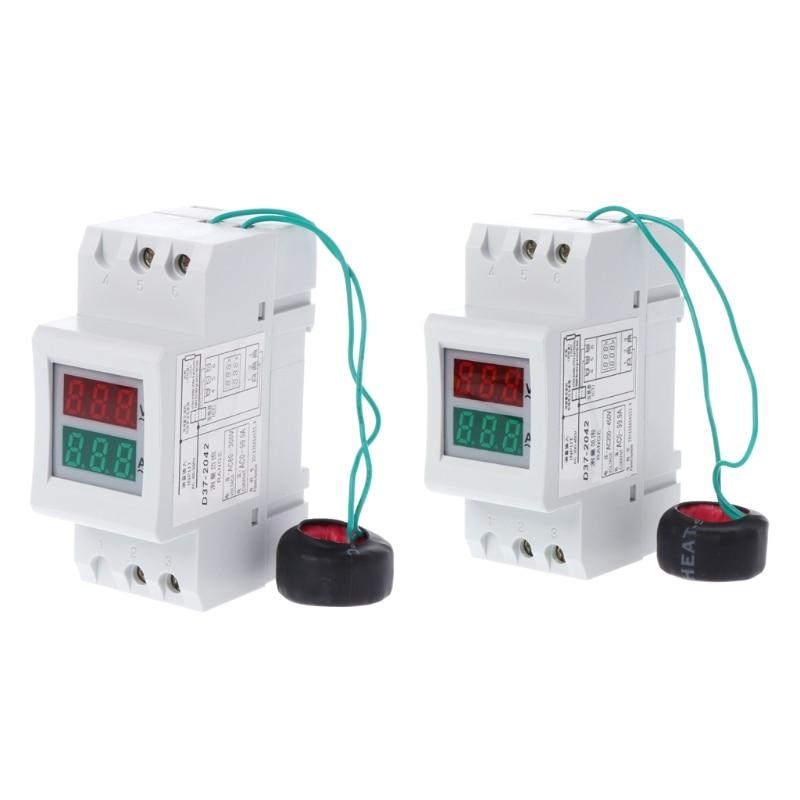 2 P 36mm Rail Din Double LED Tension Courant Mètre Voltmètre Ampèremètre AC 80-300 V 250-450 V 0-100A #0616