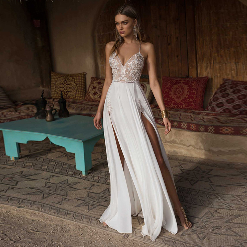 Verngo Boho Wedding Dress Sexy Side Slit Beach Wedding Dress V-Neck Bride Dress Spaghetti Straps Weeding Gowns Vestido De Noiva