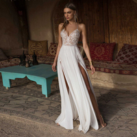 Verngo Boho Wedding Dress Sexy Side Slit Beach Wedding Dress V Neck Bride Dress Spaghetti Straps Weeding Gowns Vestido De Noiva