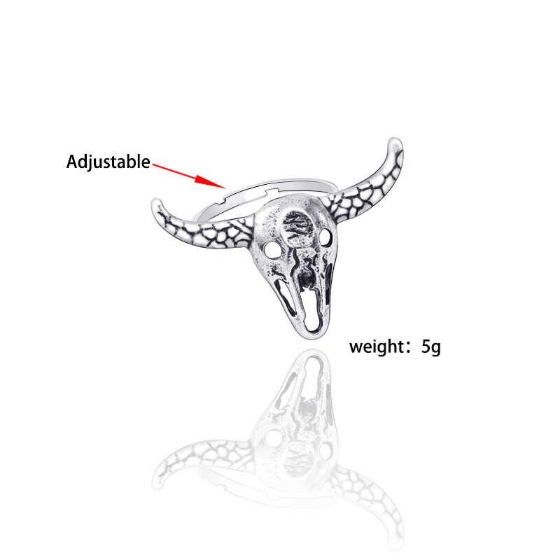 ใหม่โบราณเงินวัวหัวแหวน Retro Hollow บุคลิกภาพเครื่องประดับร่วมปรับขนาดผู้ชายและผู้หญิงสัตว์แหวนของขวัญ