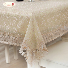 Pastoral Double-deck Glass Yarn Lace Tablecloth Translucent Embroidered Round Table Cloth Home Decor Beige Tablecloths Dustcloth