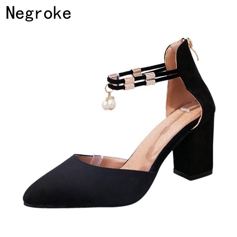 1eb351bd2175b Femme Perla gris Franja Negro Negro Altos Faux Mujer De Tacones Sandalias Elegante  Zapatos Suede 2018 Escarpins Verano Bloque wTP4q4z8