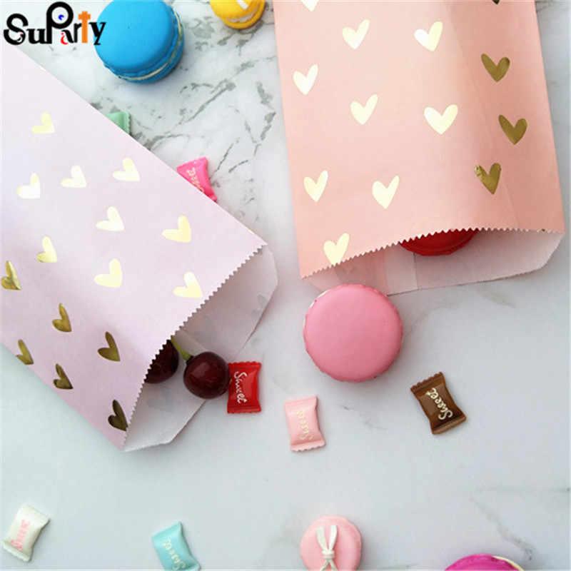 100 sztuk Blush różowy papier torby na prezent złota folia serce Party prezent torby cukierków fioletowy kolor na urodziny i bociankowe wesele