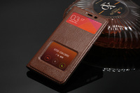 100 Genuine Leather Flip Cover Case For Xiaomi Redmi Note 2 With Windows Compact Ultrathin Top