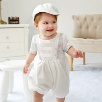 2pcs Set Baby Clothes Summer Short Sleeve Shorts Romper Match Beret Hat Wedding Pageant Christening Outfit Cute Baby Boy Clothes
