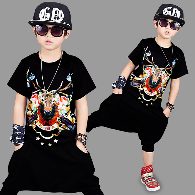 b580a8070 Performance wear children's hip-hop clothing boys summer set 2018 children  short-sleeve+pants 2pcs set