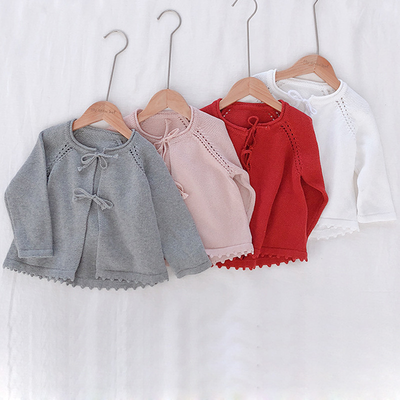 Baby Girls Cardigan Toddler Sweater Infant Coat Hollow Out Belt Fashion Cute Girls Knitted Jacket 1-7Y RT197