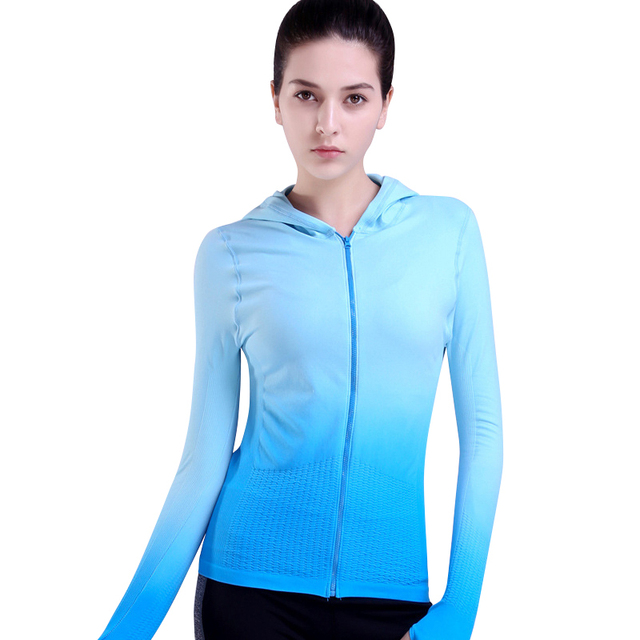 Fitness Hooded Jackets Hat Zipper Women T Shirt Long Sleeve Sweatshirt Running Yoga Jacket tops Female Shirt Sport Clothing