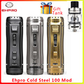 Ehpro Koud Staal 100 120W TC Doos MOD 0.0018S Afvuren fast & Software Update vaporizer sigaret Vape Mod vs OBS Cube/ageis solo