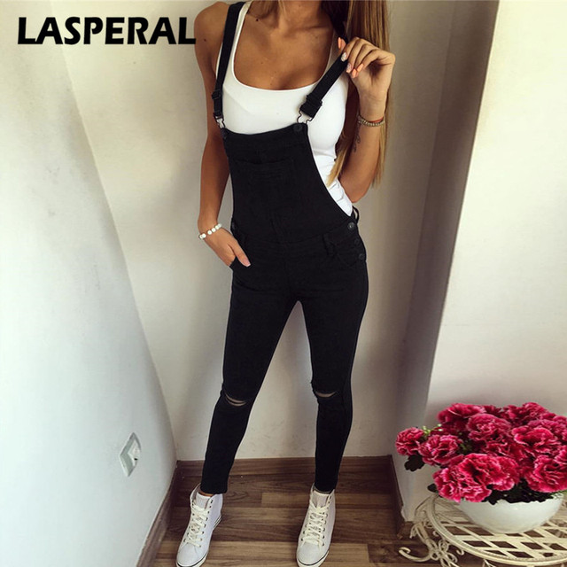 d40ad37780f LASPERAL Casual Jeans Jumpsuits Romper Women Sexy rippped Hole Denim  Jumpsuits Body Feminino Pencil Pant Overall