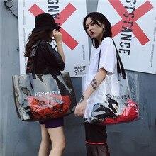 mixtx 2019 Transparent PVC Handbag beach Shoulder bag Women New Trend Tote Hot Sale Jelly Color Plastic Clear Bag Large capacity