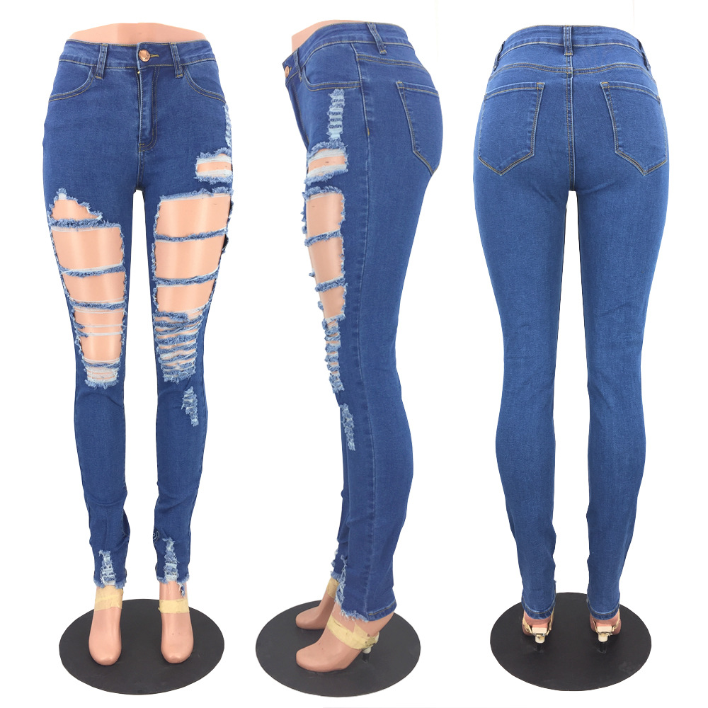 Jeans Women High Waist Skinny Pencil Pants Women Casual Street Style Ripped Hole Slim Fit Skinny Jeans Plus Size Street Style in Jeans from Women 39 s Clothing