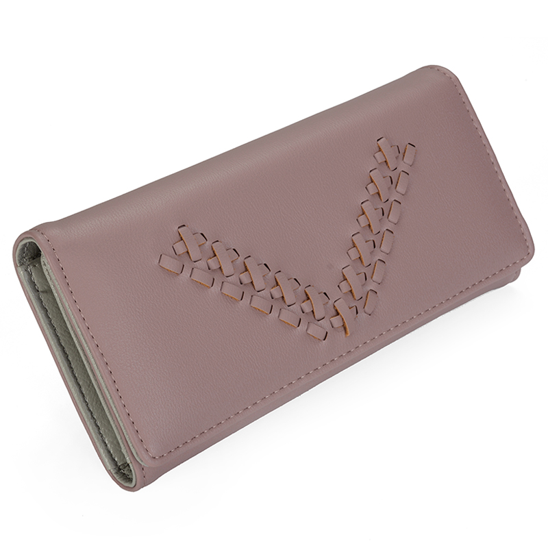 Female Wallet Leather Purse Women Card Holder Coins Purse Weave Vintage Designer Clutch Money Pocket Long Slim Wallet Trifold
