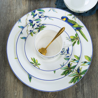 8Inch And 11Inch Porcelain Dinner Plate Edible Hand painted Bird Dishes Ceramic Flat Dish Cartoon Dinnerware Set Cup And Sauer