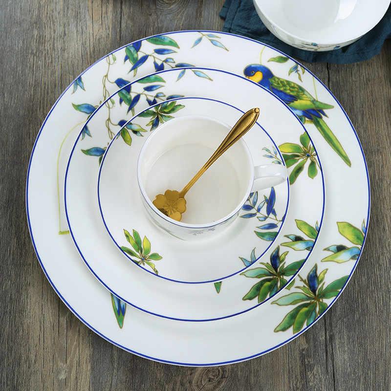 Prato de jantar de porcelana papagaio arroz tigela copo e pires pintados à mão ocidental comida bandejas dos desenhos animados louça bolo pratos 1pcs