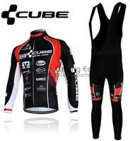 3D Silicone! 2013 CUBE #1 đội Mùa Đông dài tay cycling jerseys + quần yếm có dây đeo đạp xe đạp nhiệt gạt mặc thiết + gel pad