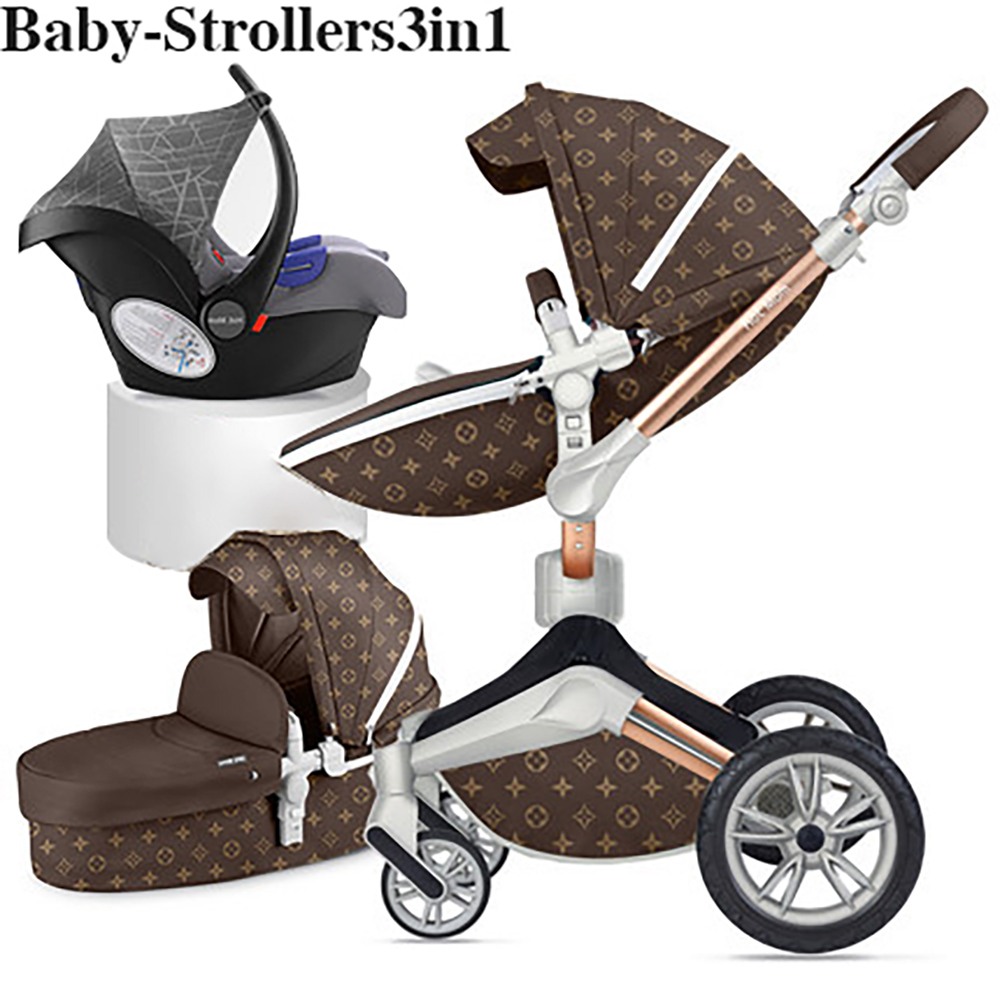 Hot mom baby stroller high landscape can sit reclining shock baby stroller rotatable import trolley 2019 new vitality yellow sea