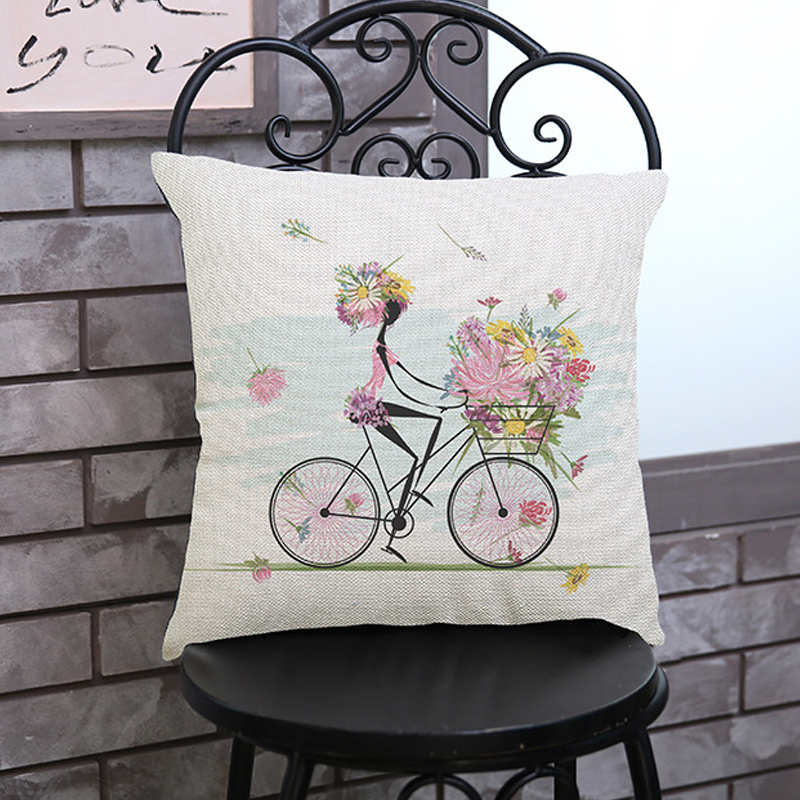 Decorative Throw Pillows Cushions Without Insert Digital Printing Flower  Fairy Bike Butterfly Almofadas Housse Coussin(