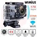 Wimius 4 k câmera de ação de esportes wi-fi 16mp hd 2.0 polegada carro câmera de vídeo dvr cam capacete à prova d' água + 2 pcs baterias + acessórios kits