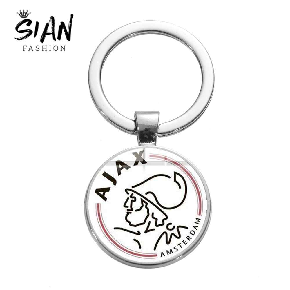 SIAN 2019 New Arrival Ajax Football Leagues Logo Keychain Soccer Club Collection Key Chain Holder Trinkets Fans Gift Men Jewelry