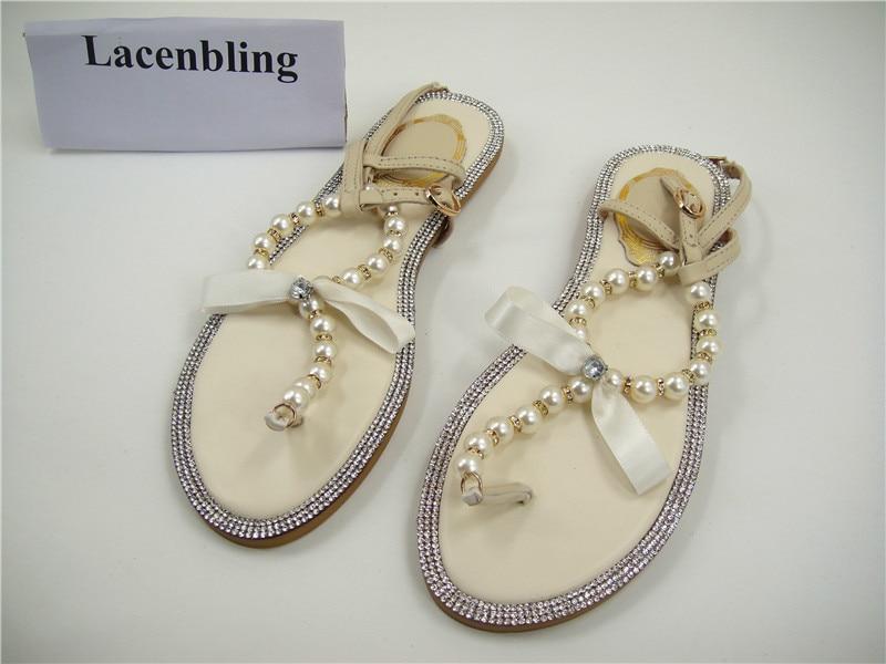 Free Shopping Rhinestones Bridal Sandals  Flat Wedding Shoes  Ivory ... 8526433e0bef