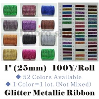 1 25mm Glitter Metallic Ribbon For Hair Bow DIY Items Party Wedding Garment Supplies Christmas Decos
